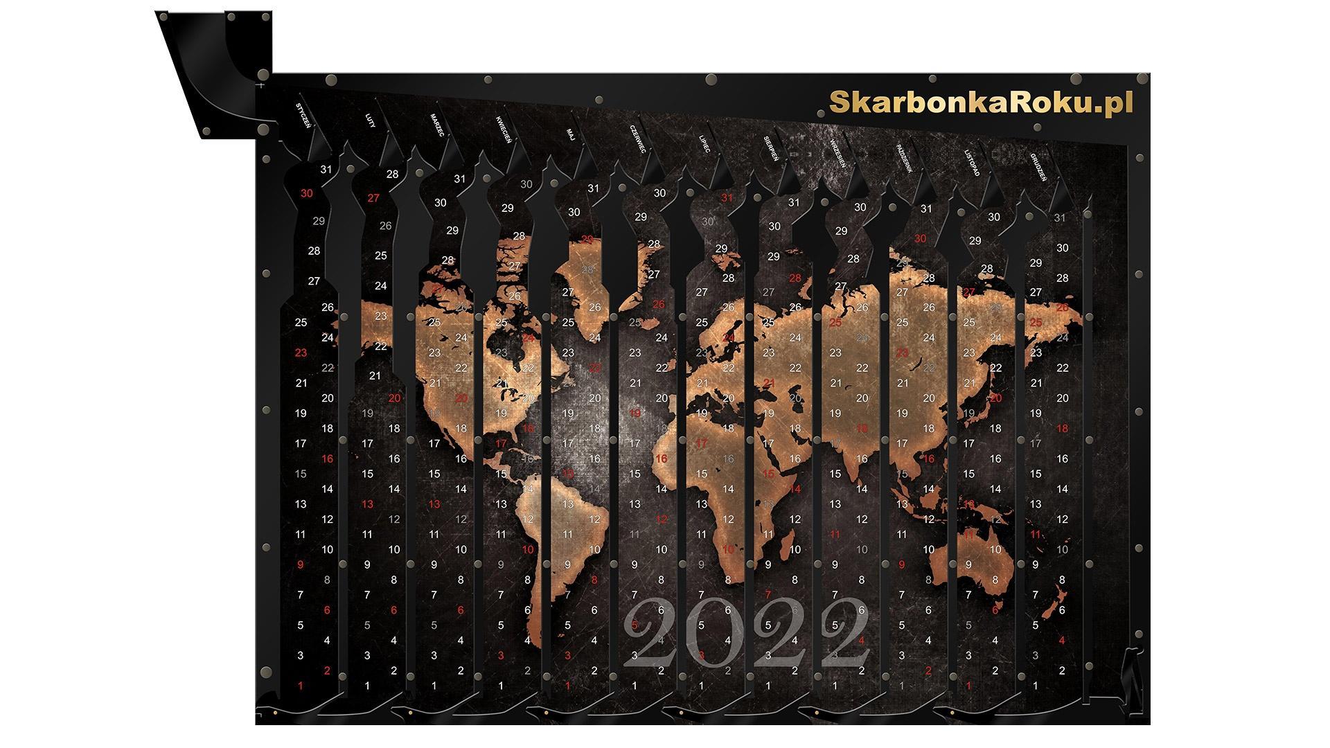 Kalendarz 2022 Mapa | Skarbonka na ścianę